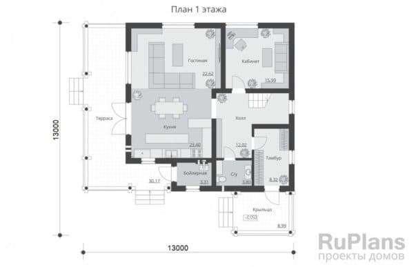 Проект 1. Планировка дома 13х13