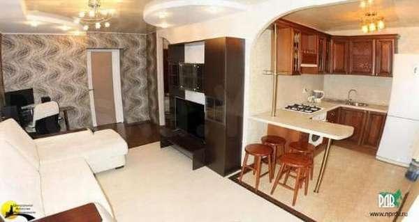 Объединение гостиной и кухни в брежневке