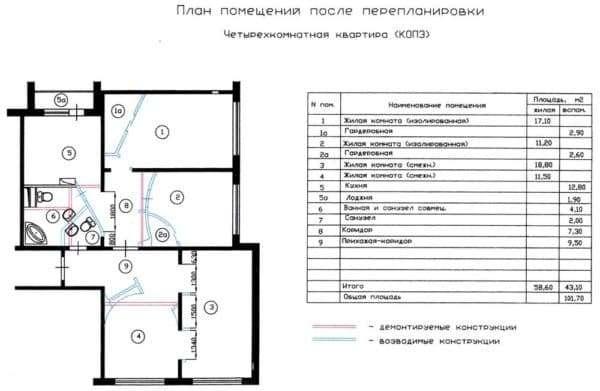 №1. Перепланировка 4-комнатной квартиры