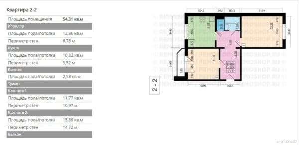 №1. Планировка двухкомнатной квартиры
