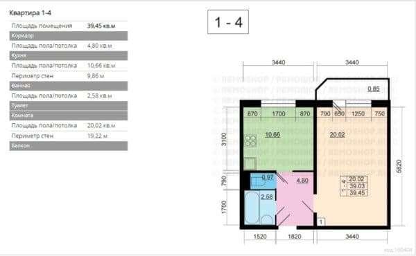 №3. Планировка однокомнатной квартиры