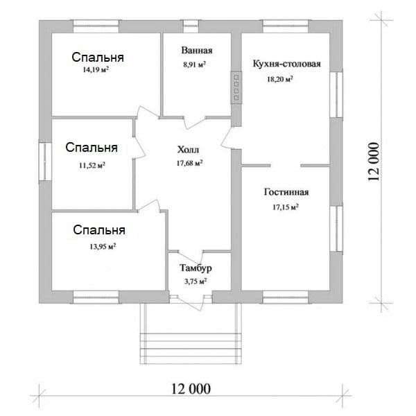 Проект 2. Дом с тремя спальнями