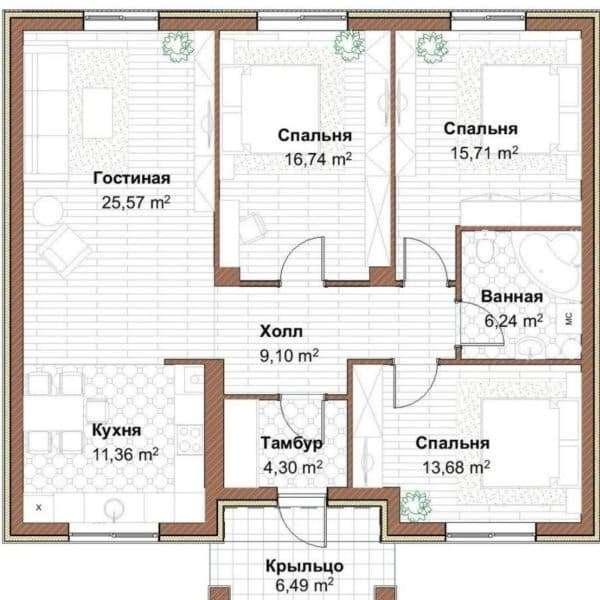 Проект 3. Дом с тремя спальнями
