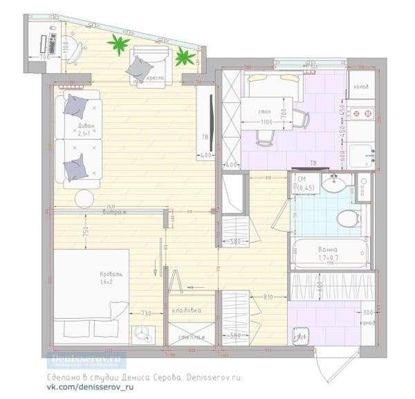 Типовая однокомнатная квартира в доме серии п 44т