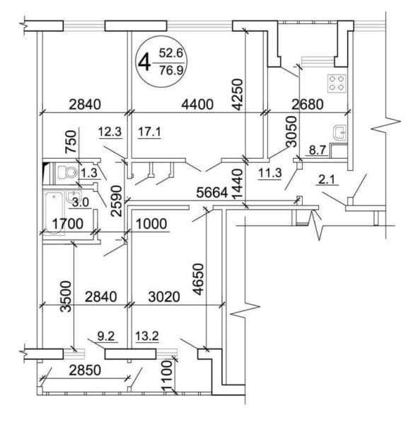 Четырехкомнатная квартира дома серии п-30