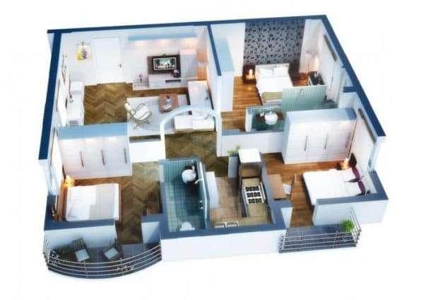 Дом 12х12 с тремя спальнями