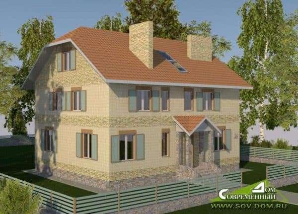Двухэтажный дом 10 на 10 с мансардой