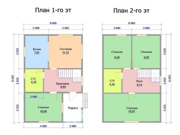 План этажей в доме 6 на 9