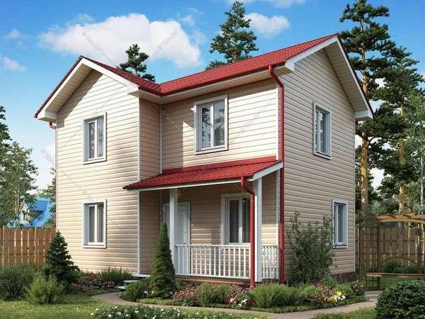 Двухэтажный дом 6х8 с внешней отделкой