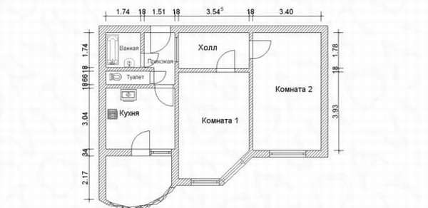 Двухкомнатная квартира в доме КОПЭ-М-Парус
