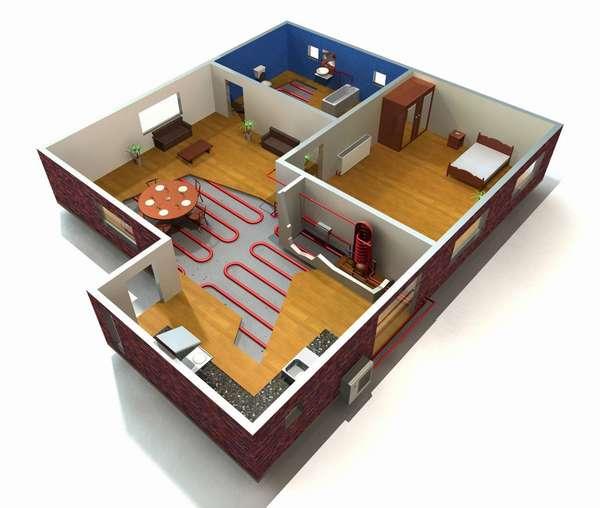 Схема отопления дома воздушным тепловым насосом.