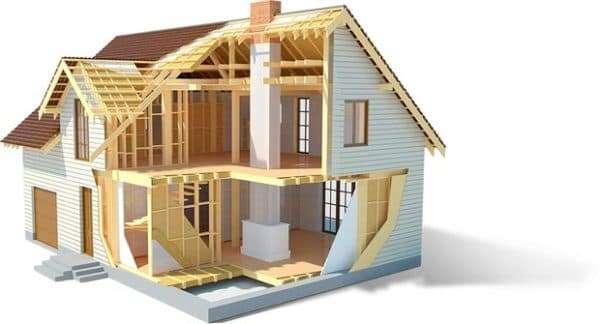 Каркасный дом в разрезе