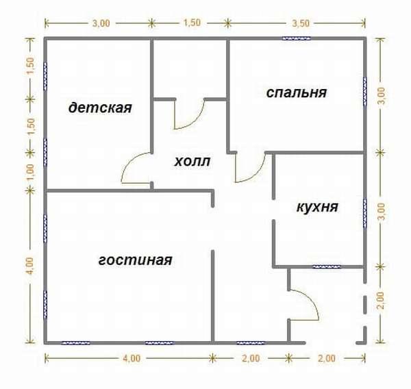 Пример планировки одноэтажного дома 8 на 8 планировка
