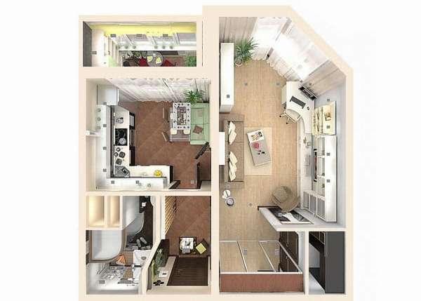 Однокомнатная квартира в доме КОПЭ-М-Парус