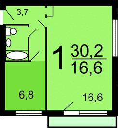 Однокомнатная квартира в доме 1-447