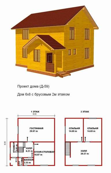 Проект 3. Каркасный двухэтажный домом 6х8