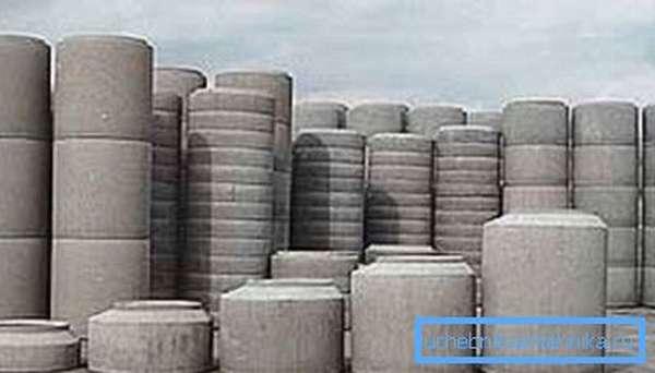 Ассортимент бетонных колец.