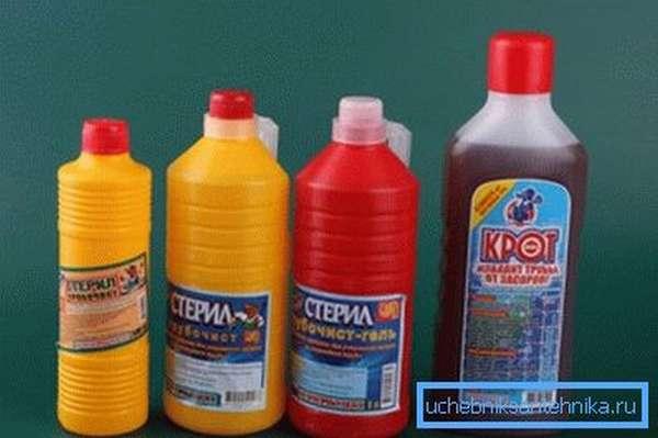 Ассортимент химических средств для растворения органических отложений в трубах