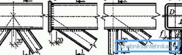 Бесфасоночные узлы ферм: а) треугольная решетка, б) опорная решетка, в) раскосная решетка