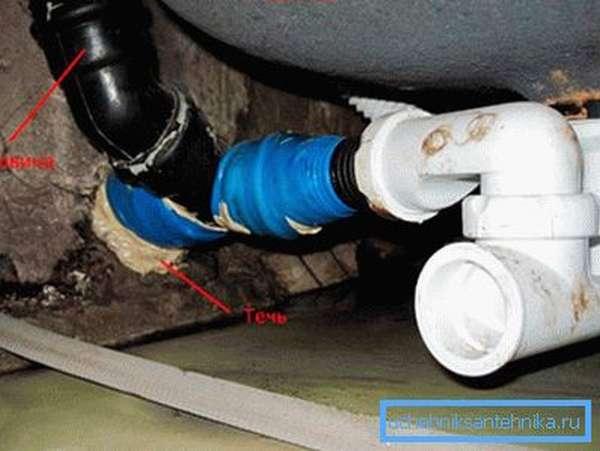 Ремонт канализационной трубы