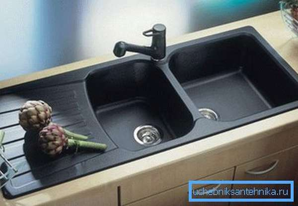 Черная раковина для кухни из литого чугуна