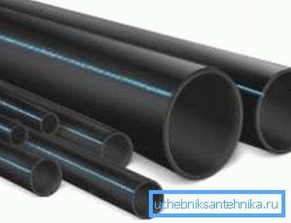 Черные трубы для водопровода разного диаметра