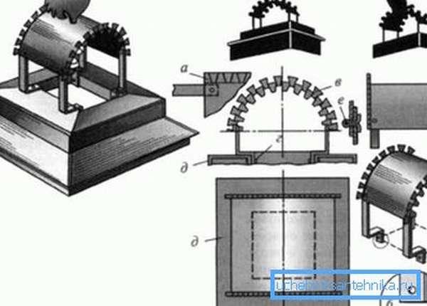 Чертеж дефлектора на трубу дымохода – арочная конструкция