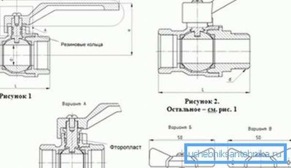 Чертеж, который показывает особенности конструкции данных устройств с указанием размеров используемых вентилей