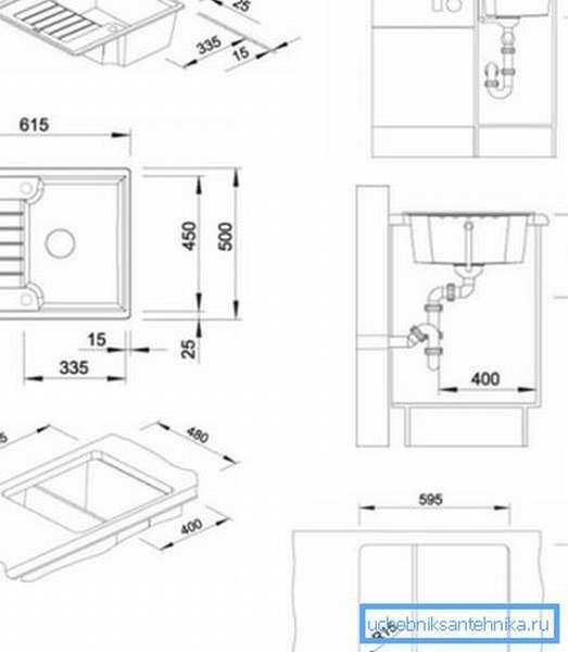 Чертежи мойки с указанием ее размеров и принципа монтажа с учетом всех особенностей конструкции