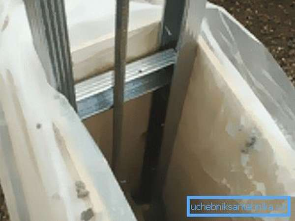 Чтобы вода из раствора не впиталась в опалубку и землю, используем полиэтилен.