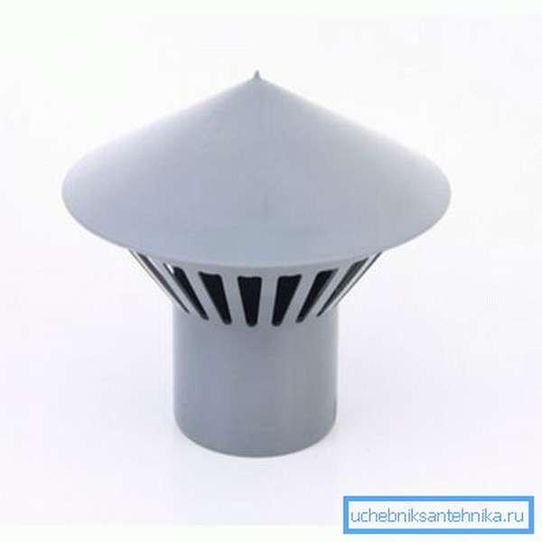 Дефлектор вставляется в раструб канализационной трубы.