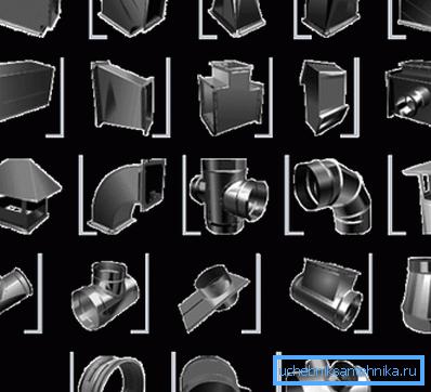Детали, необходимые для конструирования системы вентиляции