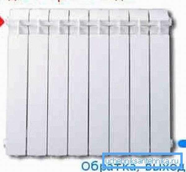 Диагональное подключение радиаторов отопления в квартире используется для многосекционных моделей