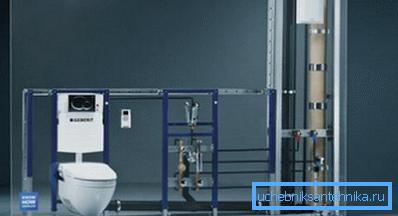 Для монтажа в полые перегородки используется инсталляция для унитаза монтажной высоты 82 см.