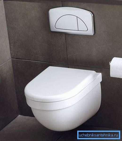 Для слива воды используется специальная кнопка, монтируемая на стене