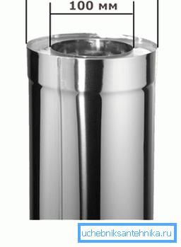 Для водогрейных колонок и небольших котлов отлично подойдут трубы с внутренним диаметром 100 мм и толщиной утеплителя 2 см