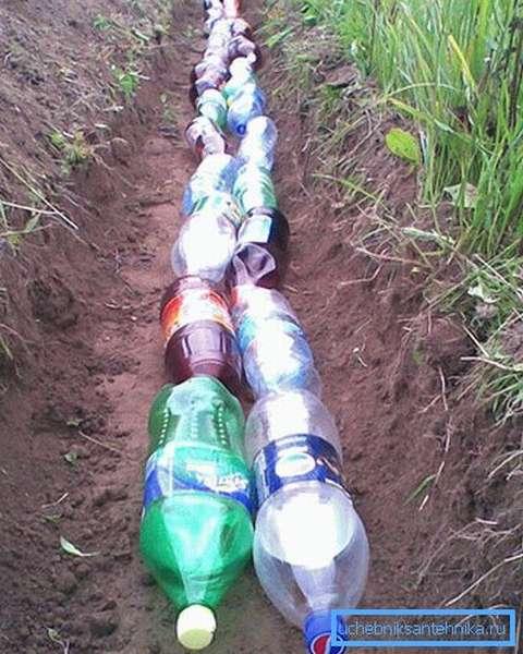 Дренаж из пластиковых бутылок