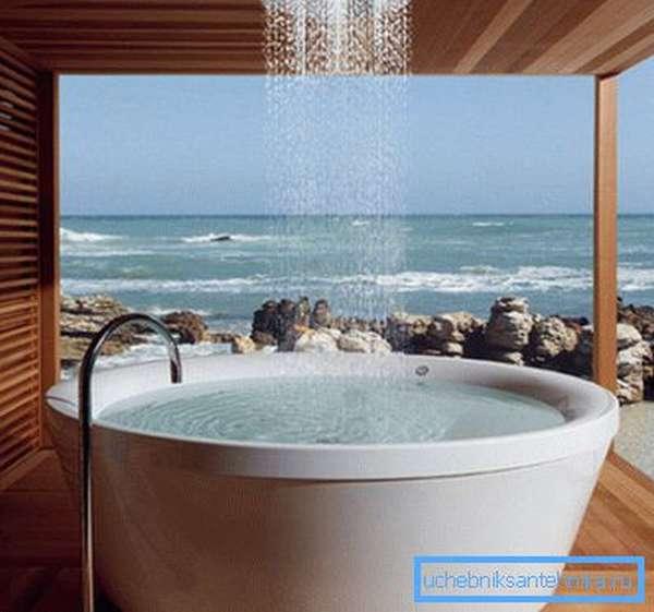 Душ для оригинальной ванны.