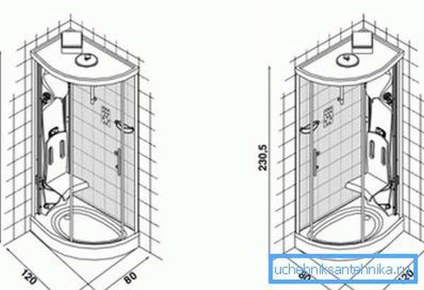 Душевая кабина 120х80 см с откидным стулом