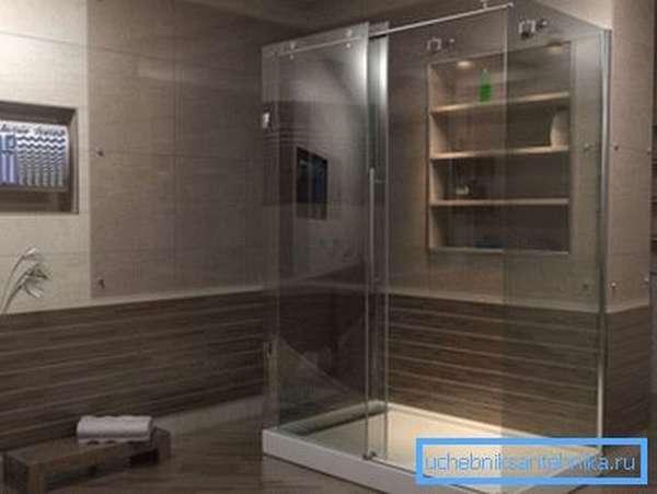 Душевая кабина с низким поддоном 120х90 в интерьере современной ванной комнаты.