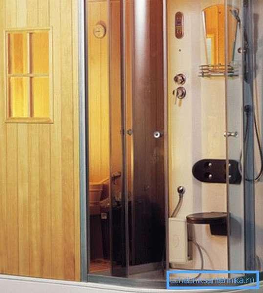 Душевые кабины с сауной и турецкой баней обладают компактными размерами