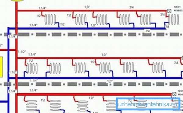 Двухтрубная схема отопления.