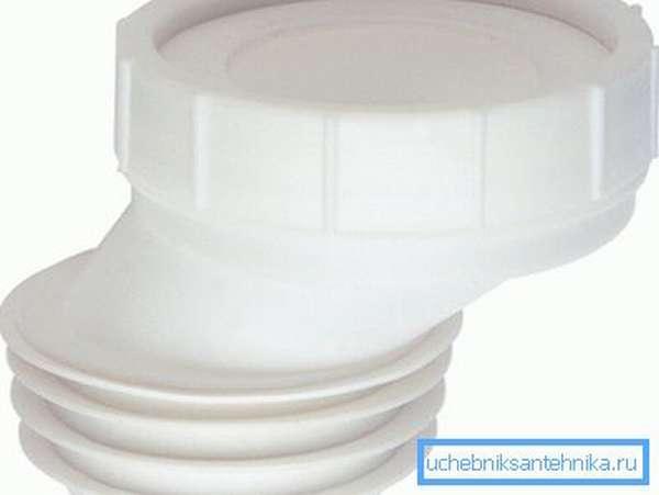 Эксцентриковая манжета из белого пропилена позволит поставить унитаз даже в ванной под углом