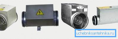Электрический нагреватель подбирается в зависимости от диаметра воздуховода и нужной мощности