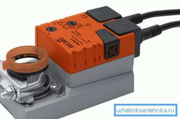 Электропривод заслонки вентиляции без возвратной пружины.