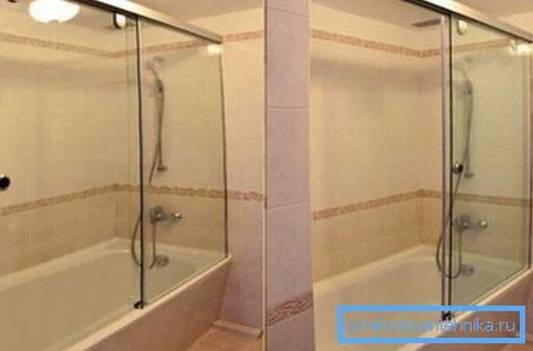 Этот вариант подскажет, как из ванны сделать душевую кабину, как видите, в этом проекте сделаны широкие раздвижные двери