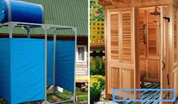 Фабричный мини - душ для дачи и капитальная кабинка из дерева.