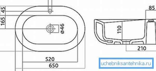 Фарфоровый овальный умывальник 2 с отверстием для подключения смесителя: чертеж и размеры