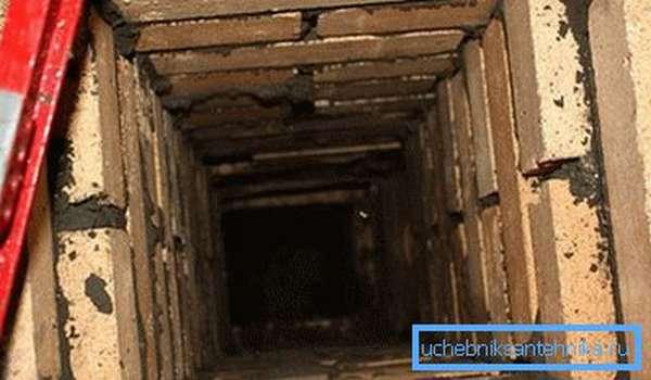 Фото примитивной кирпичной вентиляционной шахты
