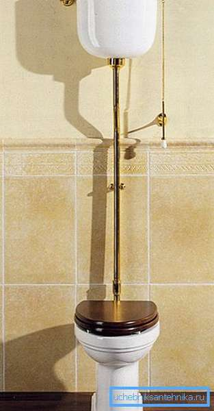 Фото унитаза с подвесным бачком на трубе